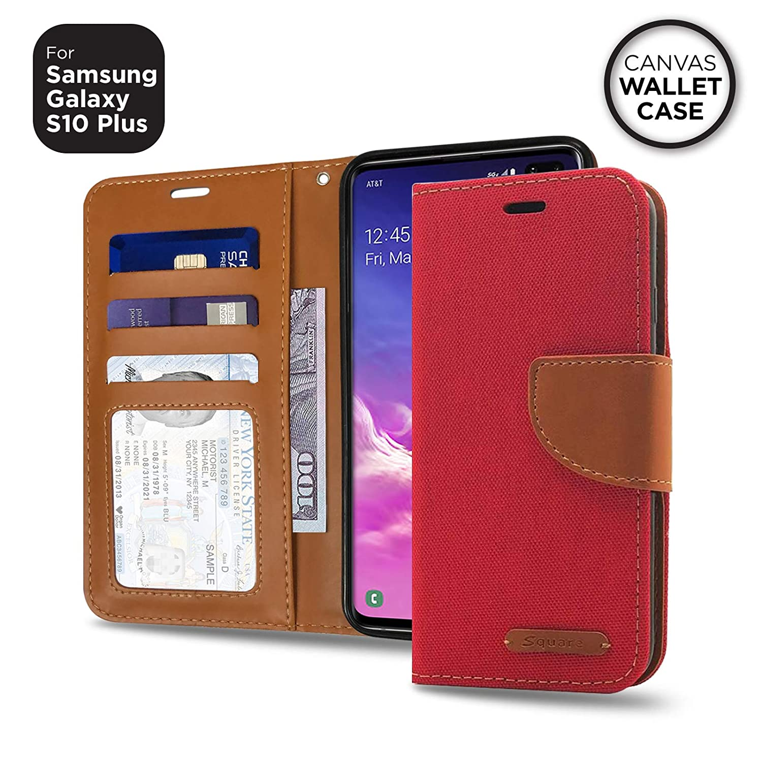 Amazon.com: [Serie Folio Cuadrado] Samsung Galaxy S10 Plus ...