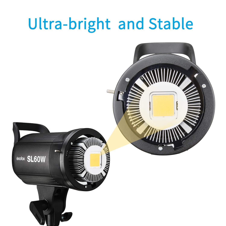 Godox SL-60W 60W LED Studio Light,5600±300K Remote Control, Continous LED Lighting with Bowens Mount for Outdoors,DSLR, Canon, Nikon, Pentax, Panasonic,Sony, Olympus Digital SLR Cameras by Godox (Image #2)