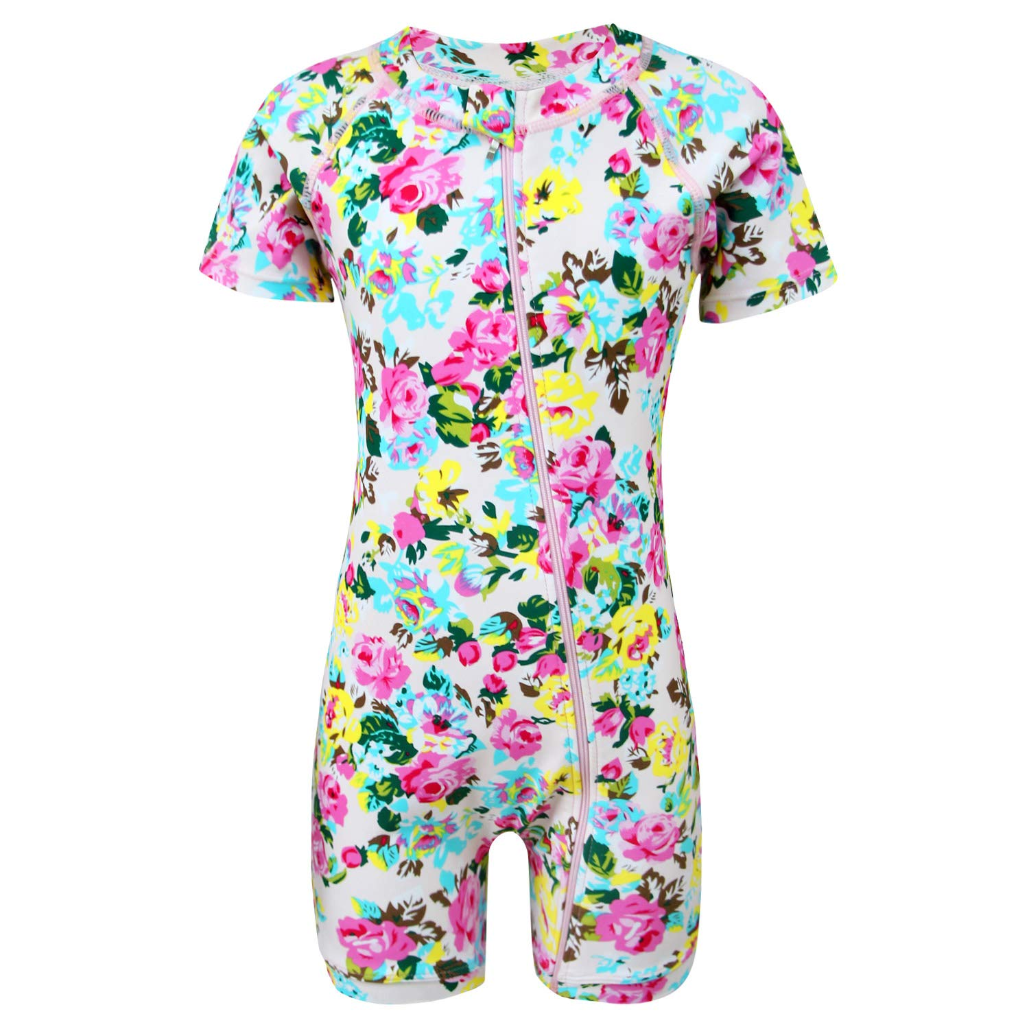 qyqkfly Baby/Toddler Girls Full Zip UPF 50+ Sun Protection One Piece Swimsuit(FBA) (B-Pink Rose, 4T(3Y-4Y)) by qyqkfly