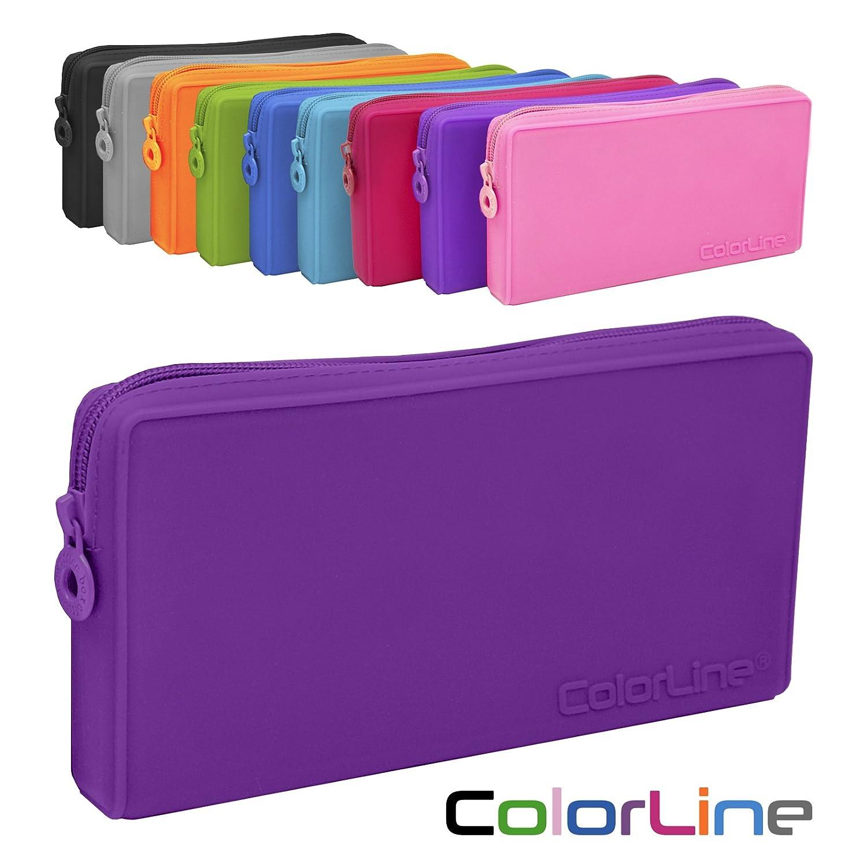 Colorline 58711 - Portatodo Plano de Silicona, Estuche Multiuso para Viaje, Material Escolar, Neceser y Accesorios. Color Morado, Medidas 21 x 10.5 x ...