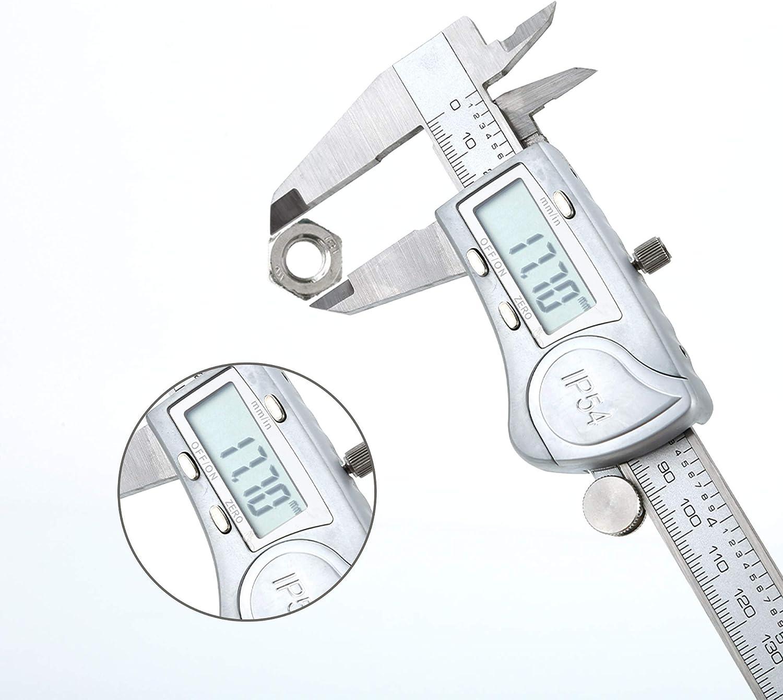 Intirilife Digitaler Messschieber in Silber 150mm Tiefenma/ß und Durchmesser 6 Zoll IPX54 wasserdichte Edelstahl Schieblehre Hochpr/äzises Profi-Messger/ät mit LCD-Display f/ür Abst/ände