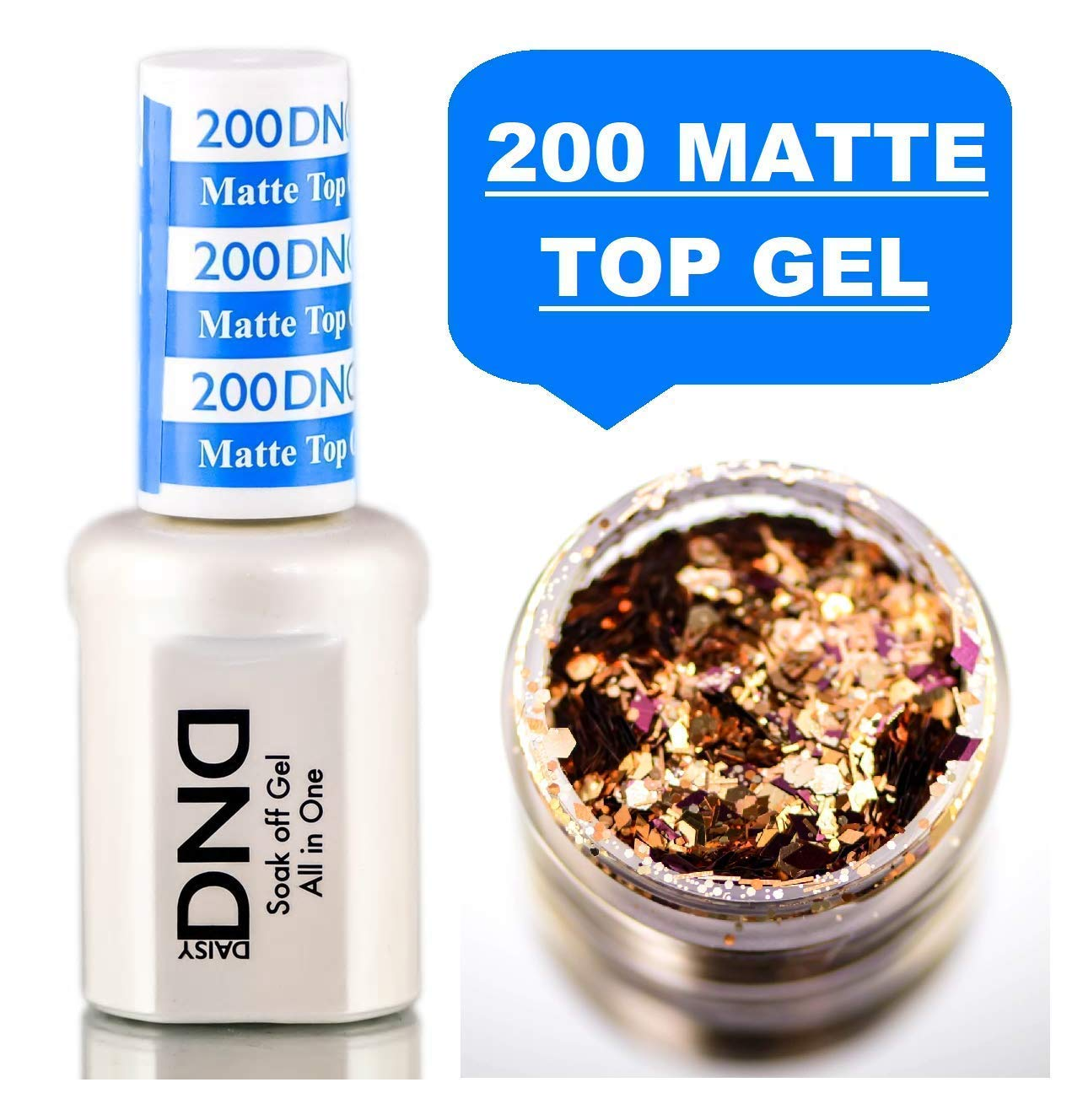 Daisy DND 200 MATTE TOP GEL, Soak off Gel NAIL All In One Daisy Top Coat for Nails (with bonus side Glitter) Made in USA (200 MATTE TOP COAT) by DND Daisy
