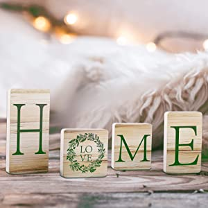 Wood Home Letter Sign Rustic Home Blocks Wooden Tabletop Home Sign Home Farmhouse Letter Decor for Home Party Table Decorations