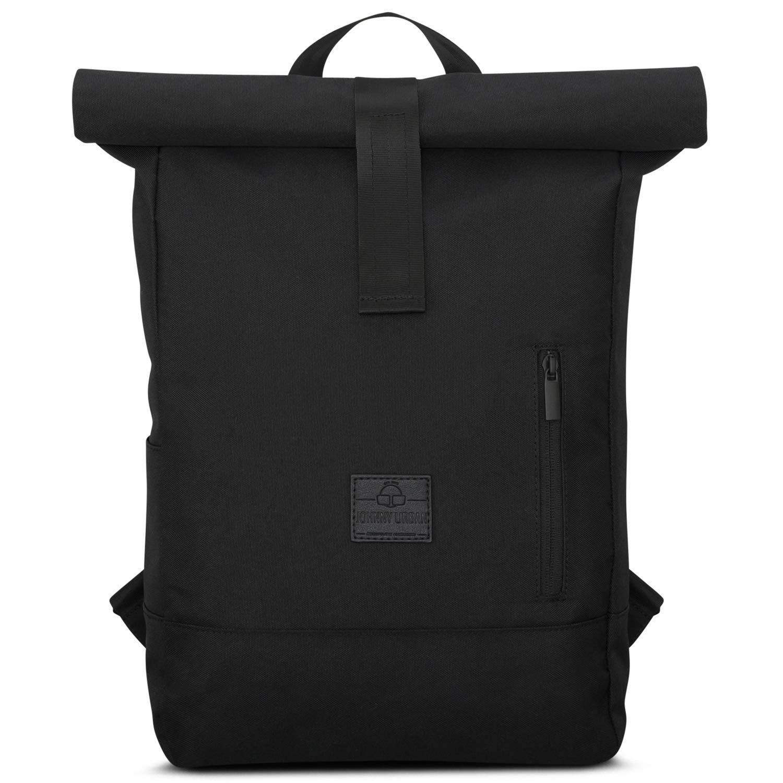 Black Roll Top Backpack Women Men JOHNNY URBAN Robin Casual Daypack Laptop Pocket