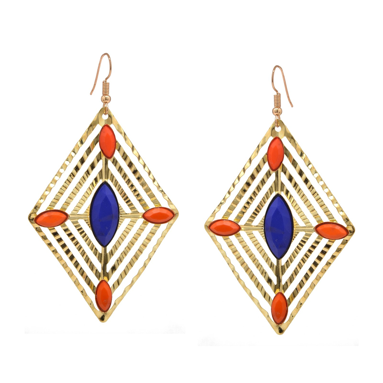 Oreleaa Earrings Blue & Orange Beaded Golden Metal Dangle Carved Diamond Shaped For Women and Girls