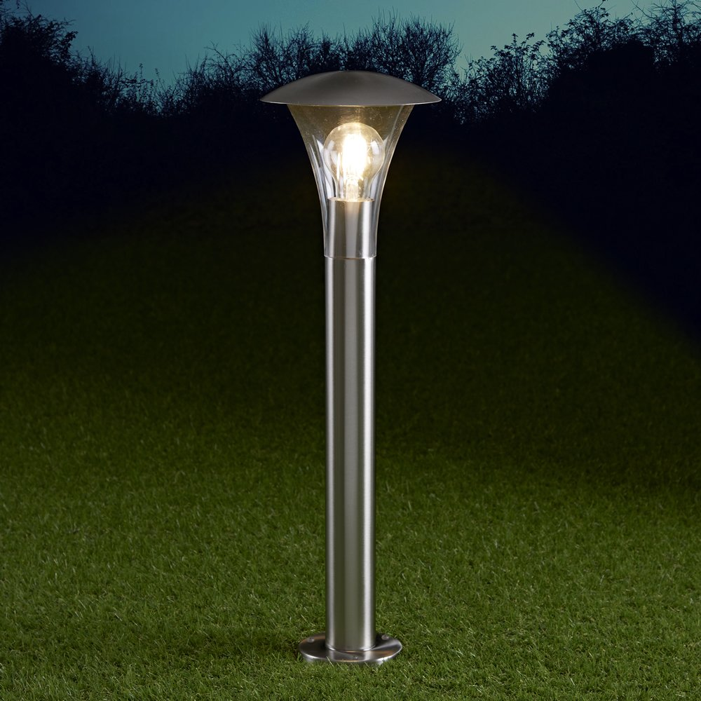 Biard Cholet 600mm Stainless Steel IP44 Curved Modern Outdoor Bollard Lantern Light with Free E27 LED Filament Bulb in Warm White - Post Lighting Garden Pathway Commercial Driveway