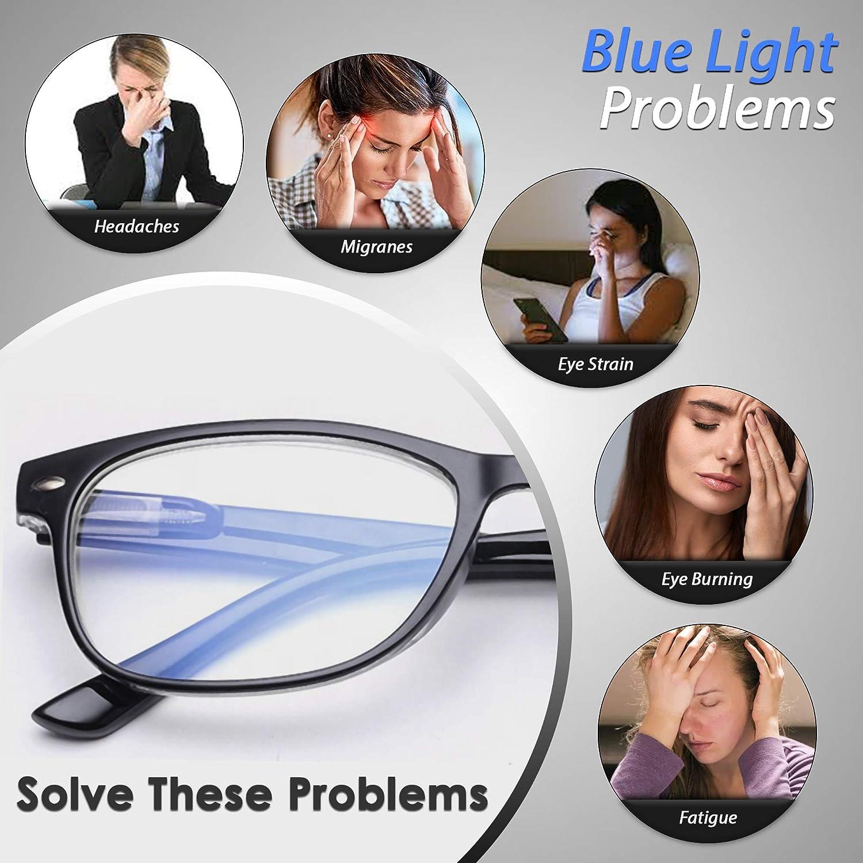per computer risolvono affaticamento degli occhi piccolo viso telefono e tablet. Blue-Light Blocking occhiali da donna leggero e forte carino mal di testa e migrano e dormono meglio