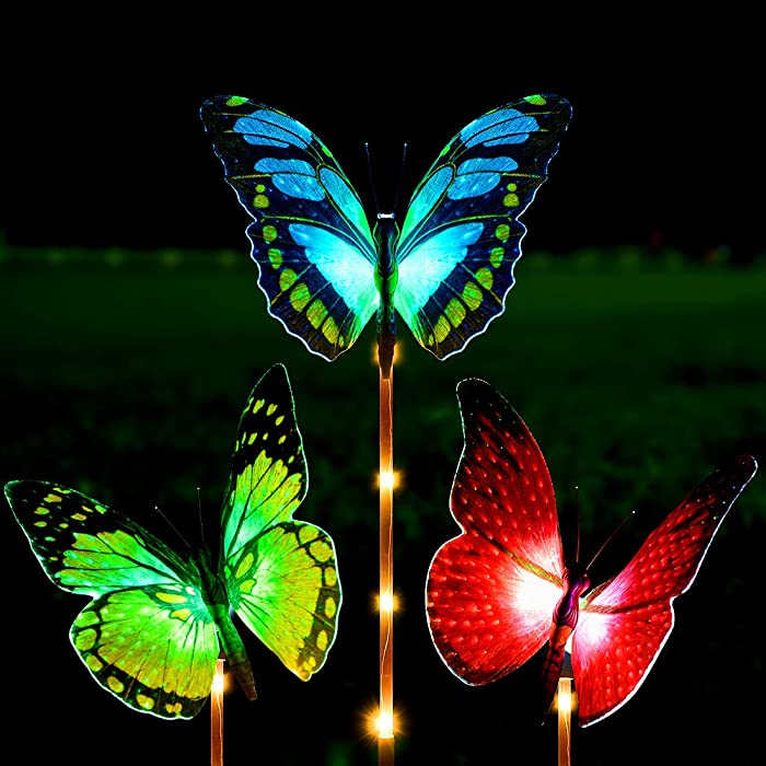 Solar Lights Outdoor - Kearui 3 Pack Solar Stake Light with Fiber Optic Butterfly Decorative Lights, Multi-Color Changing LED Solar Lights for Garden Decorations, Garden Gifts