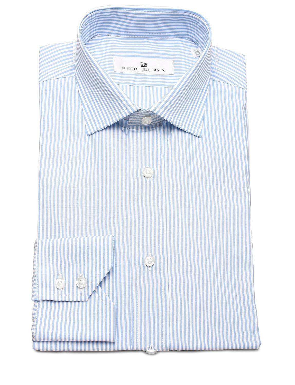 Pierre Balmain Men Slim Fit Cotton Dress Shirt Stripe White Blue At