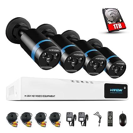 H.View Kit de 4 Cámaras de Vigilancia Seguridad, 1080P Camaras, CCTV DVR