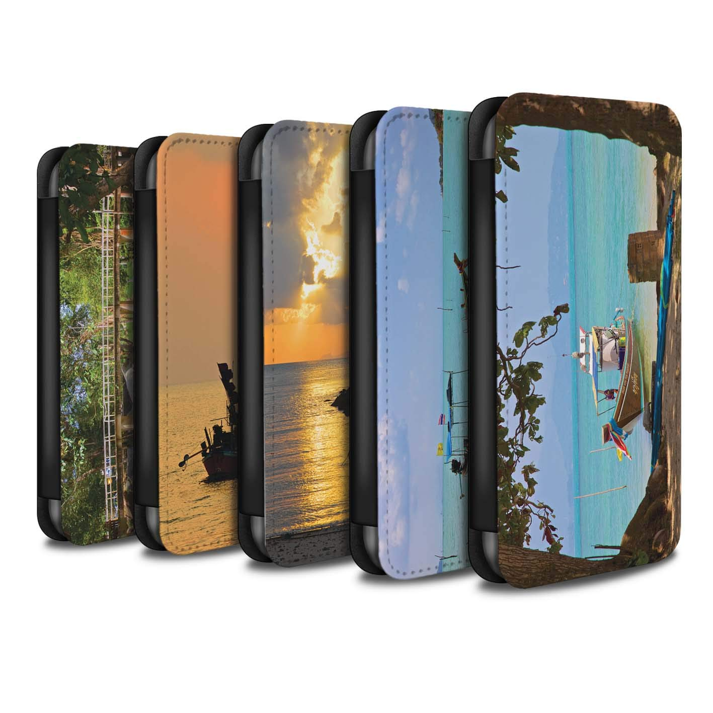 eSwish PU Leather Wallet Flip Case/Cover for Huawei P Smart/Pack 15pcs Design/Thailand Scenery Collection