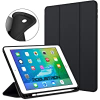 Robustrion Smart Flexible Trifold Flip Stand Case Cover with Pencil Holder for New iPad 9.7 inch 2018/2017 6th/5th Generation (Black)