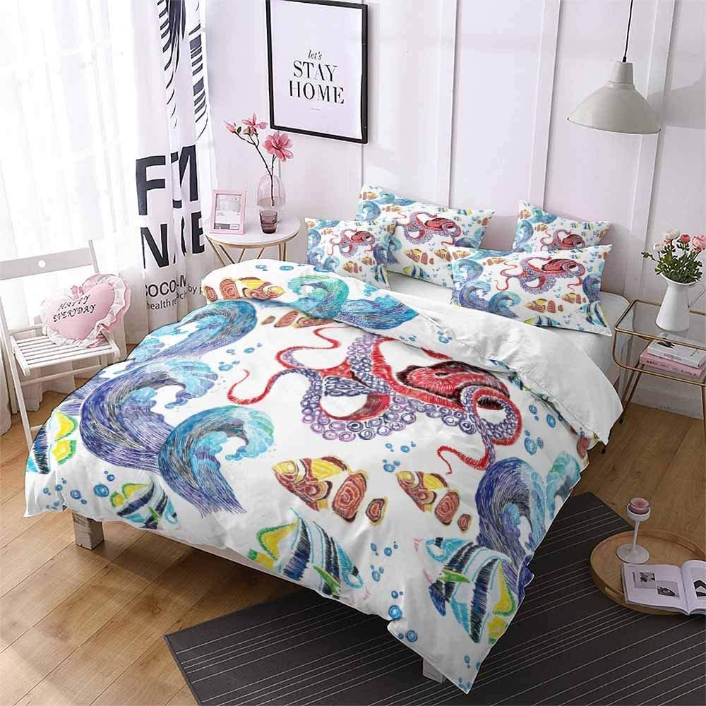 Erosebridal Sea Turtle Duvet Cover Twin Hand Painted Turtle Pattern on White Bedding Set Abstract Tortoise Comforter Cover Ocean Beach Themed 2 Piece with 1 Pillowcase for Children Teens Boys Girls