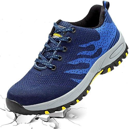 Zapatos de Trabajo para Hombre Mujer,Unisex Zapatos de Seguridad Ligero Antideslizante Zapatillas de Senderismo: Amazon.es: Zapatos y complementos
