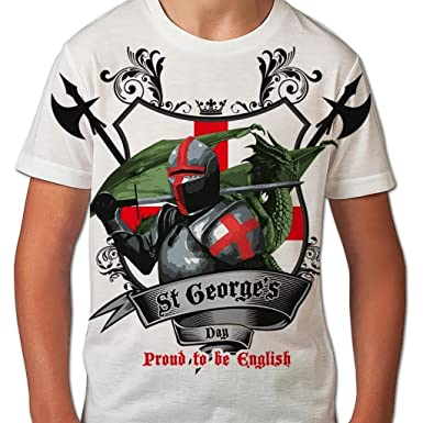 db02a86709 St George's Day T Shirts for Boys Proud to Be English Dragon All Over Print  Kids T Shirt Graphic Printed Boys Tees Saint Georges Day Sublimation  English ...