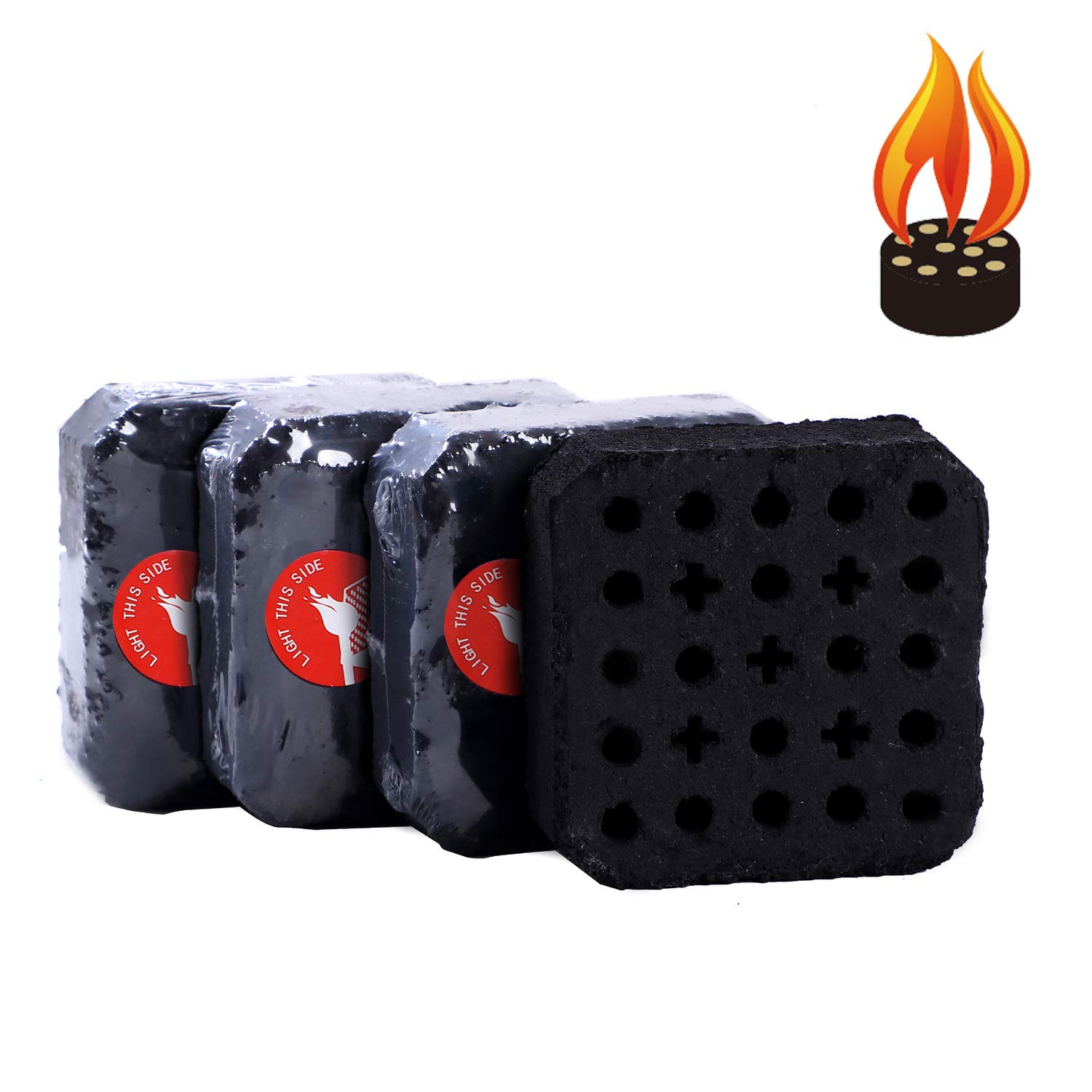 MUXI 4PCS Portable Grilling Charcoal Briquettes, 3 Seconds to Light, Sustainable Burning for 120 Mins, Easy Light Charcoal for Grill, Make BBQ Easy for Everyone, 5.2-Pound/Box by MUXI BBQ