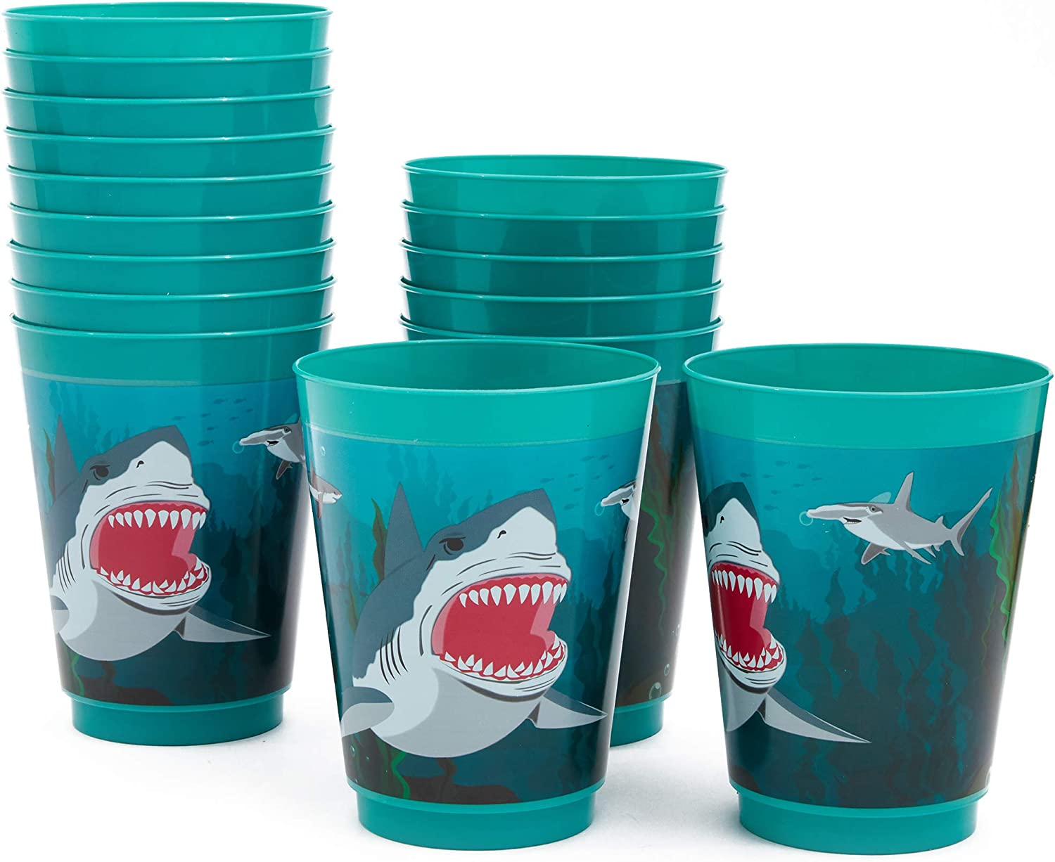 Blue Panda Shark Party Reusable Plastic Cups, 16 Pack