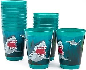 Blue Panda Shark Party Reusable Plastic Cups, 16 Pack