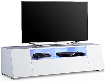 Meuble Tv Lumineux Ultra Design Blanc Laque Amazon Fr Cuisine Maison