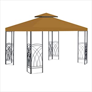 BenefitUSA 10'X10' Replacement Gazebo Top Canopy Patio Pavilion Cover Sunshade Plyester Double Tier -TAN
