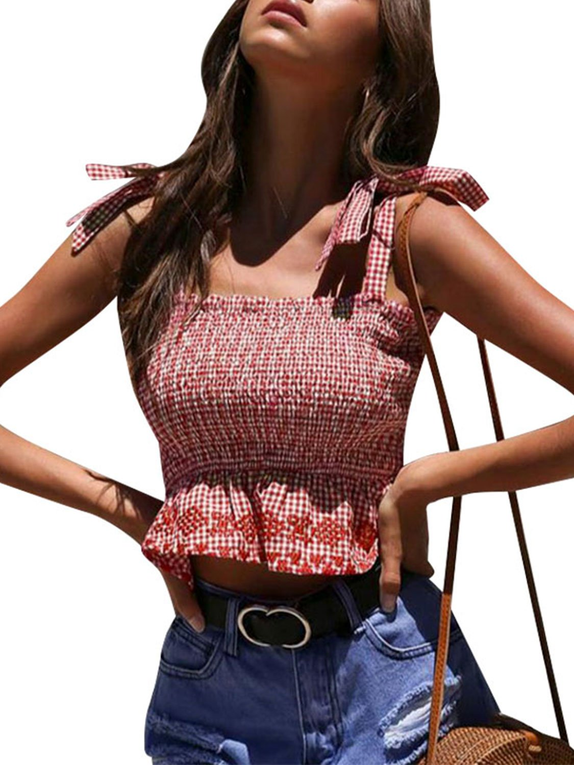 Glamaker Women's Summer Plaid Ruffle Smocked Crop Top Bowknot Strap Sleeveless Tank Cami Top Peplum Vest