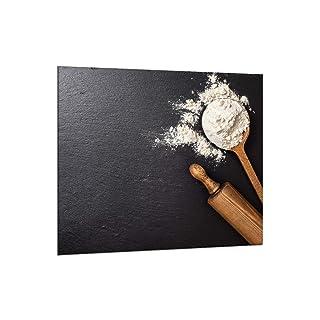 decorwelt | designersgroup Protector antisalpicaduras de cristal 65x 60cm pared–Horno fregadero cocina contra salpicaduras Protección baldosas azulejos Espejo Cocina Decoración Cristal Essen Negro