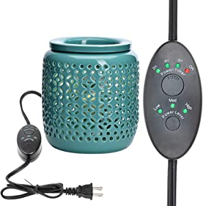 ASAWASA Ceramic Electric Wax melt Warmer with Timer,Use Wax Melts Cubes Essential Oils and Fragrance Oils,Gifts for Aromatherapy Spa Home Office Yoga H5.12 (Cyan Copper Coin Pattern)