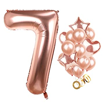Big Number 7 Balloon Rose Gold Large Mylar Foil Helium Balloons Jumbo Baby Shower Kit 7th
