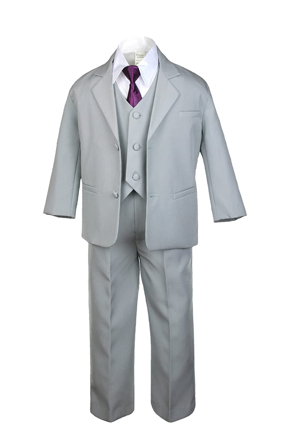 Amazon.com: Unotux 6pc Boys Gray Vest Set Tuxedo Suits with Satin ...