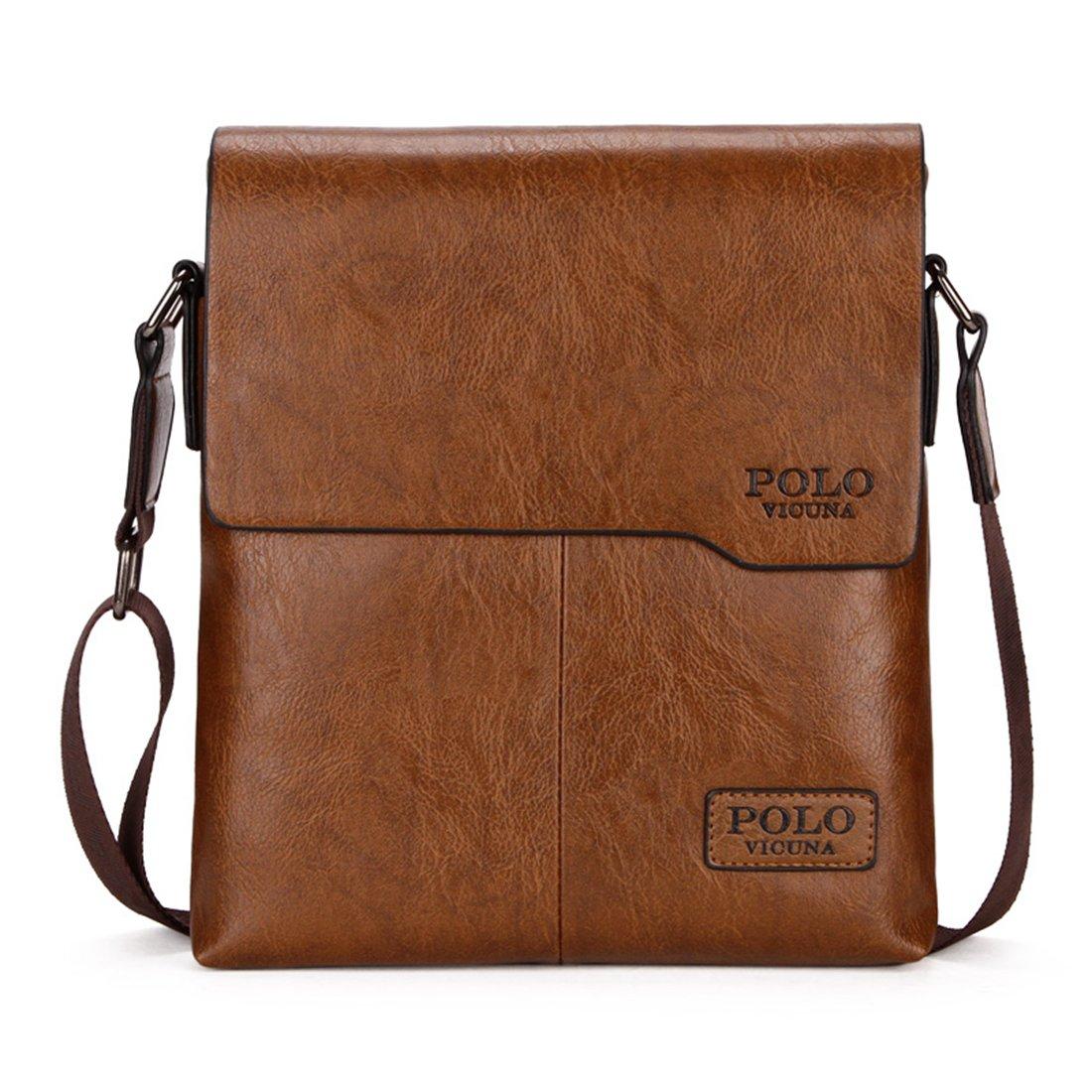 8d32a3eb61b4 VICUNA POLO Men Messenger Bag High Quality Leather Crossbody Bag Shoulder  Bag (Khaki)  Amazon.co.uk  Shoes   Bags