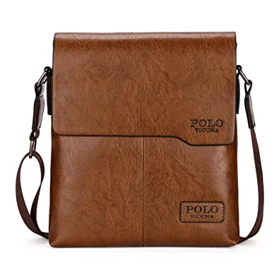 32eecf12d0 VICUNA POLO Men Messenger Bag High Quality Leather Crossbody Bag Shoulder  Bag (Khaki)