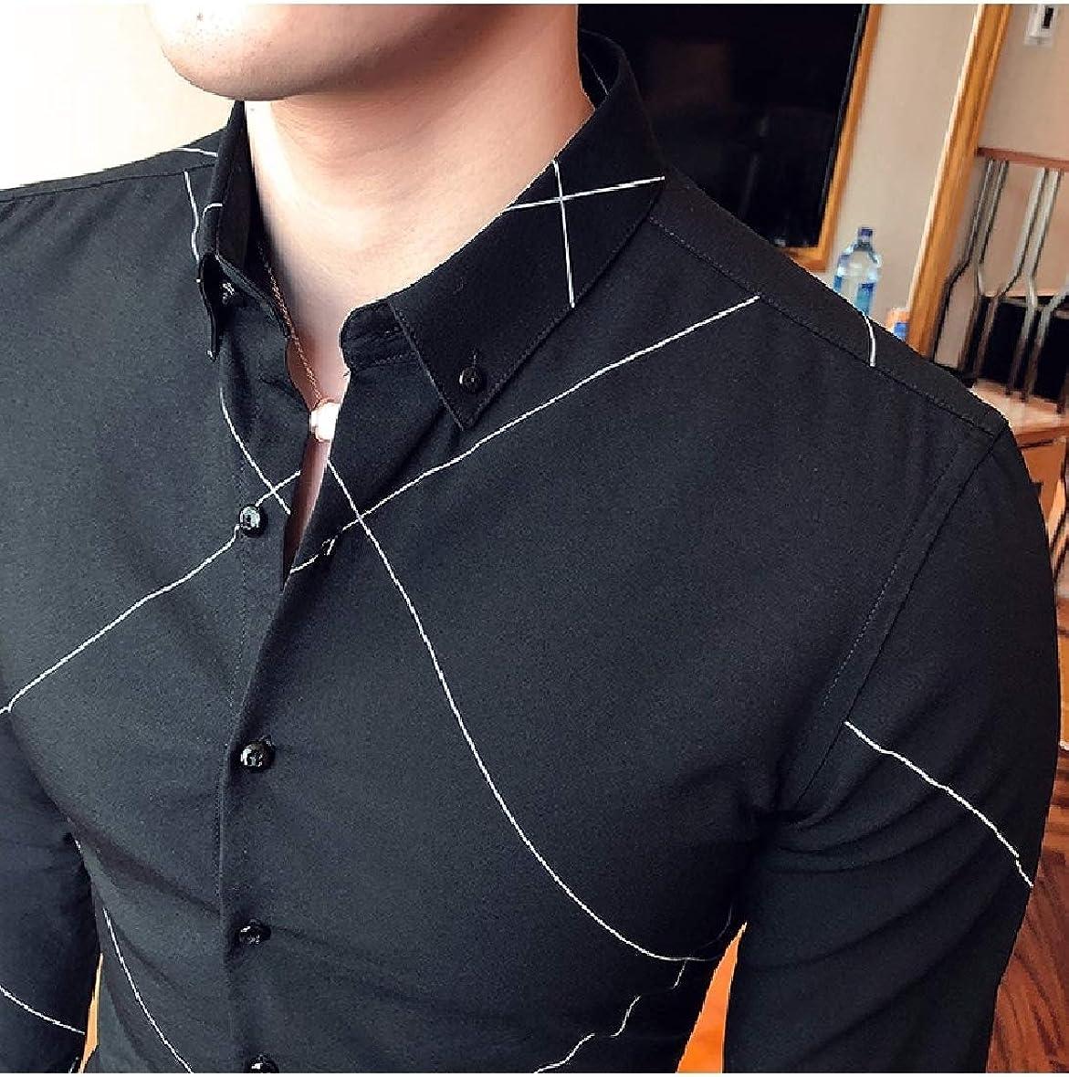 Comaba Men Plaid Stylish Regular Long-Sleeve Fine Cotton Shirt Tops