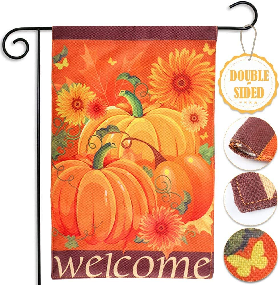 "AerWo Welcome Pumpkin Fall Garden Flag 12""×18"", Double-Sided Decorative Fall Autumn Harvest Yard Flag (Pumpkin, Sunflower & Welcome)"