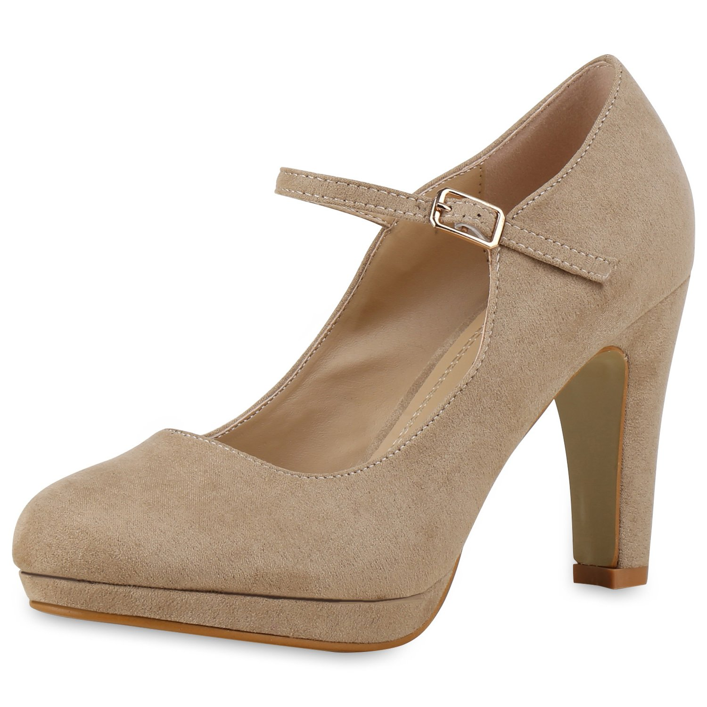 napoli-fashion Damen Pumps Mary Janes Spangenpumps High Heels T-Strap Veloursleder-Optik Schuhe Stiletto Abendschuhe Abiball Jennika  39 EU|Creme
