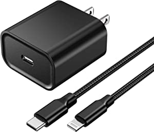 [Apple MFi Certified] iPhone Fast Charger, Veetone 20W PD Type C Power Wall Charger Travel Plug with 6FT Nylon Braided USB-C to Lightning Quick Charge Sync Cord for iPhone 12/11/XS/XR/X/8/iPad/AirPods