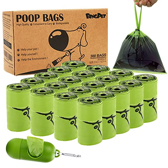 BINGPET Biodegradable Dog Poop Bags Scented with Handles Refill Rolls - Pet Waste Bag with Dispenser - 300 Counts, 20 Rolls