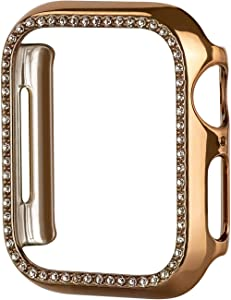 Tefeca Protective Bling Case Compatible with Apple Watch Series 3 4 5 6 SE, Shiny Diamond Rhinestone Bumper Sparkly Cover Screen Protector for iwatch Women Girl 38mm 40mm 42mm 44mm(Gold, 44mm)