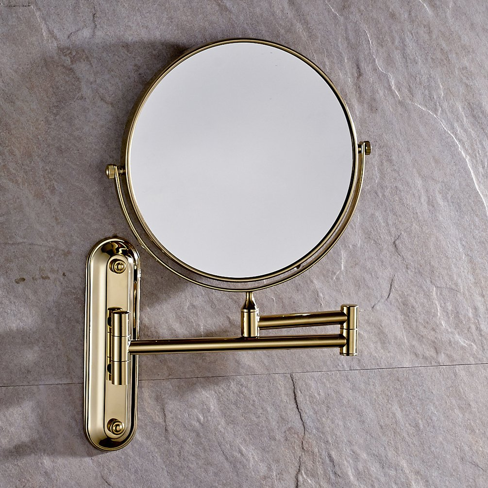 Luxury Wall Mount Adjustable Floding 3 Plus Make-up Mirror Solid Brass Swivel Magnified Mirror Polished Bass Finish Mirror with Folding Arm by GUMA