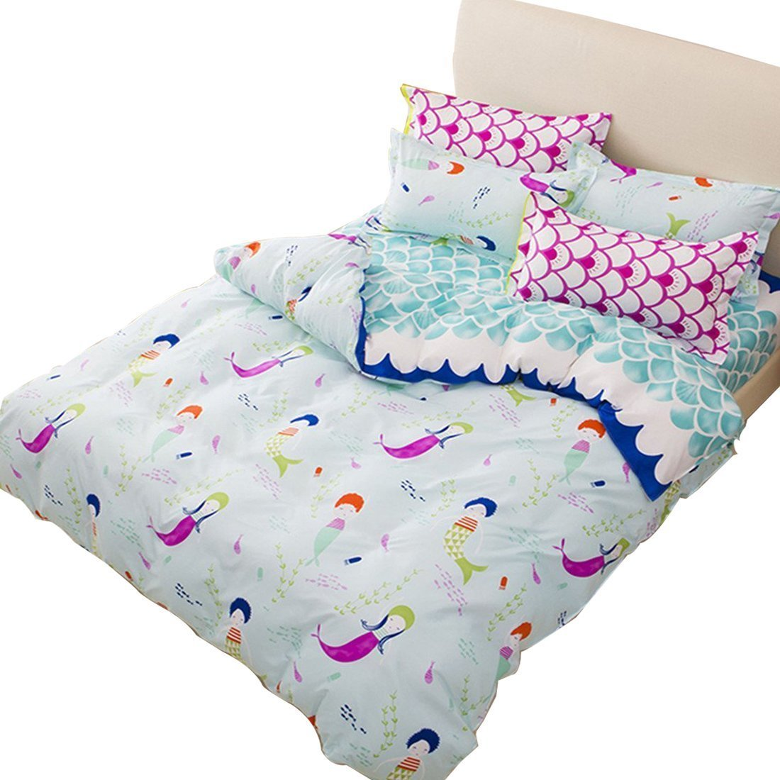 Sookie 3 Pieces Blue Duvet Small Mermaid Bedding Set Full/Queen for Kids and Girls,(NO Comforter)-Mermaid Duvet Cover&Pillow Shams -Queen Size