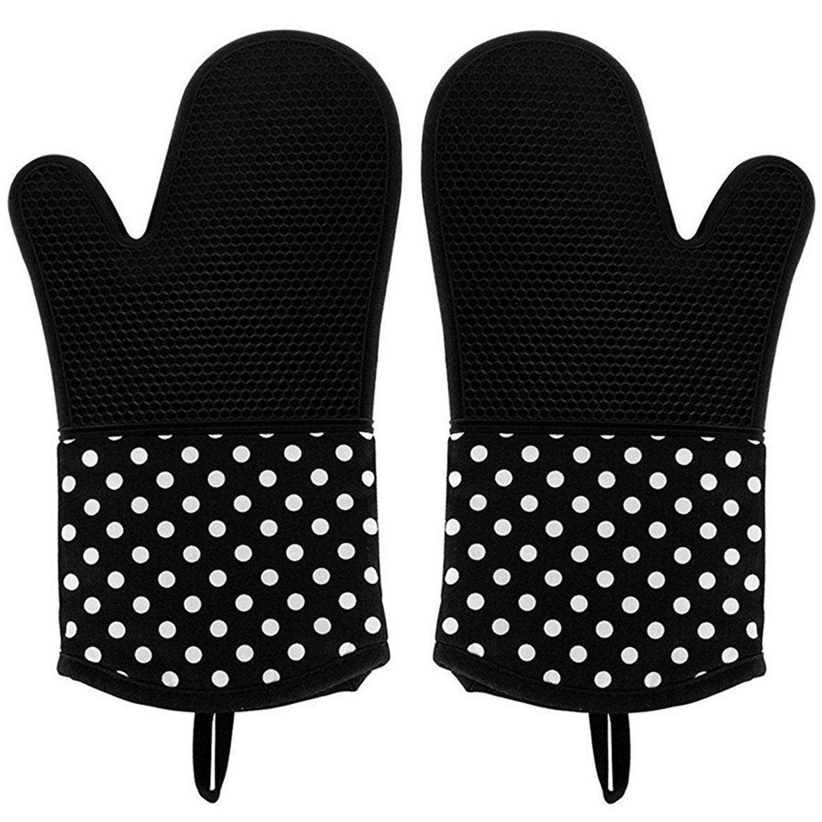 Tecare Kitchen Oven Gloves Silicone Oven Mitts Heat Resistant BBQ Gloves Non-Slip Pot Holders for Cooking Grilling Baking 1 Pair (Black)