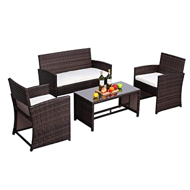 Do4U Outdoor Furniture Brown Wicker Conversation Set with Glass Top Table (4-Piece Set) All-Weather | Thick, Durable Cushions with Waterproof Covers | Porch, Backyard, Pool or Garden (9339-MIX)