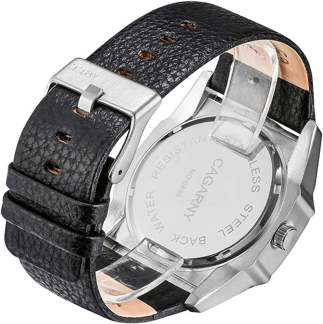 Montres 6838 (2) Montre de Poignet Sport multifonctionnelle élégante à Quartz avec Bracelet en Cuir et Heure GMT & Calendrier et Affichage Lucent pour Hommes Wa1406b
