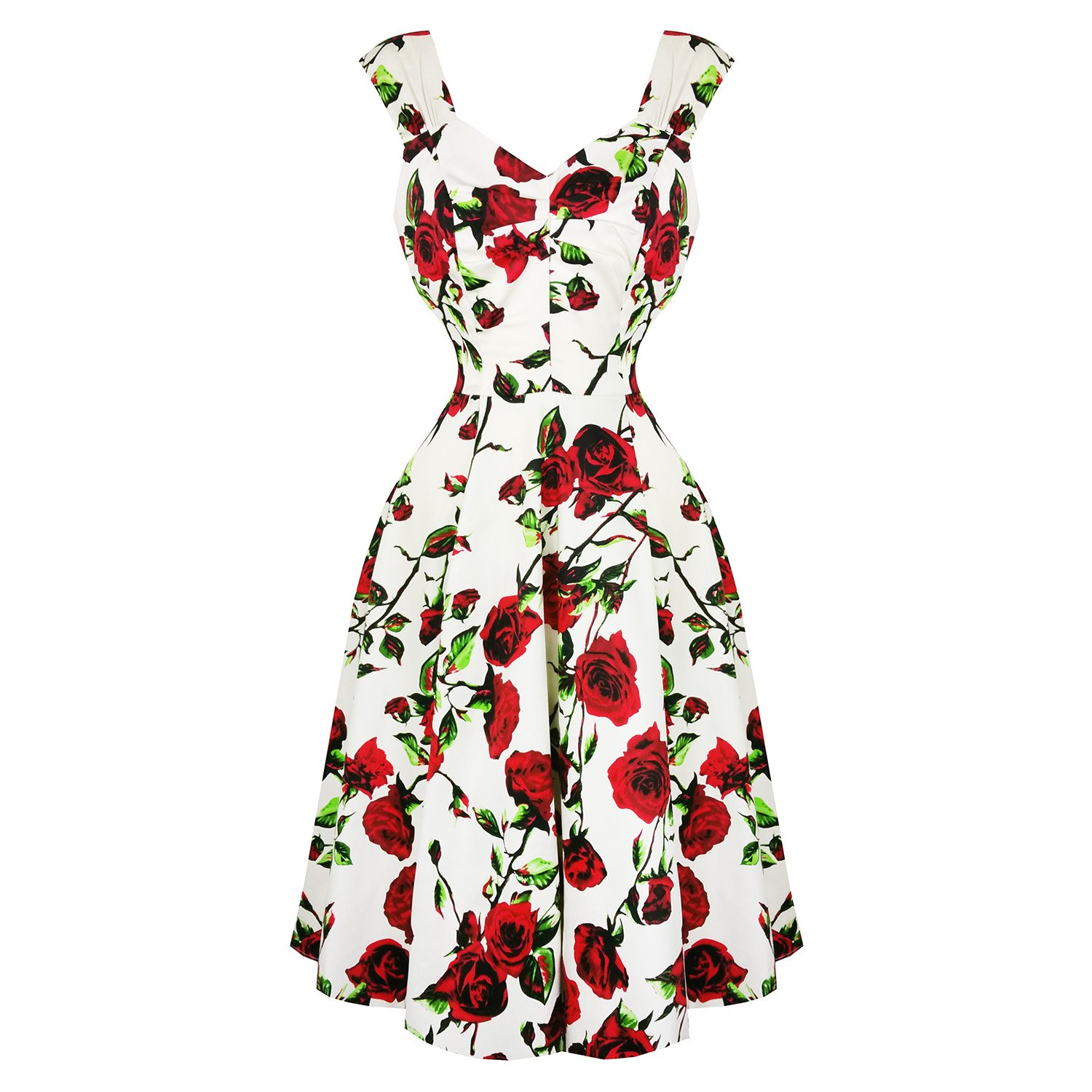 Hearts & Roses London Cream and Red Floral Vintage Retro 1950s Flared Tea  Dress: Amazon.co.uk: Clothing