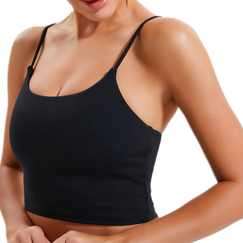 Medium Impact Workout Yoga Crop Tank Tops BOSTANTEN Strappy Sports Bras for Women Longline