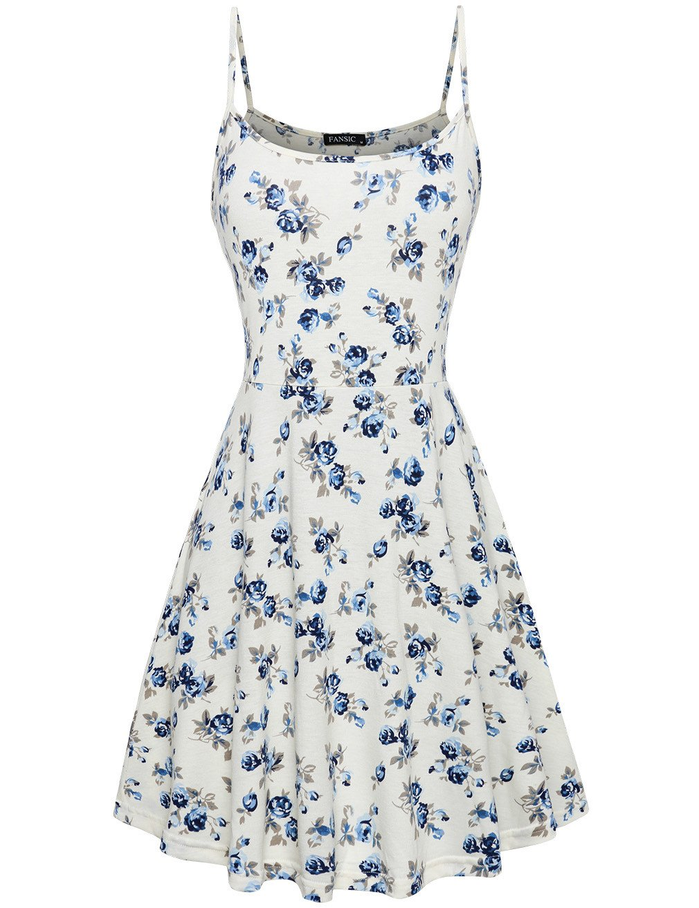 Summer Sleeveless Floral Print Dress Stretch Beach Mini Spaghetti Strap Dressing white and blue M