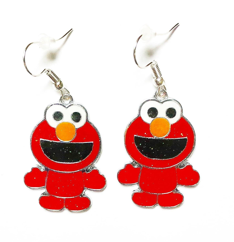 Sesame Street Inspired Elmo Character Metal Dangle Hook Earrings with Gift Box