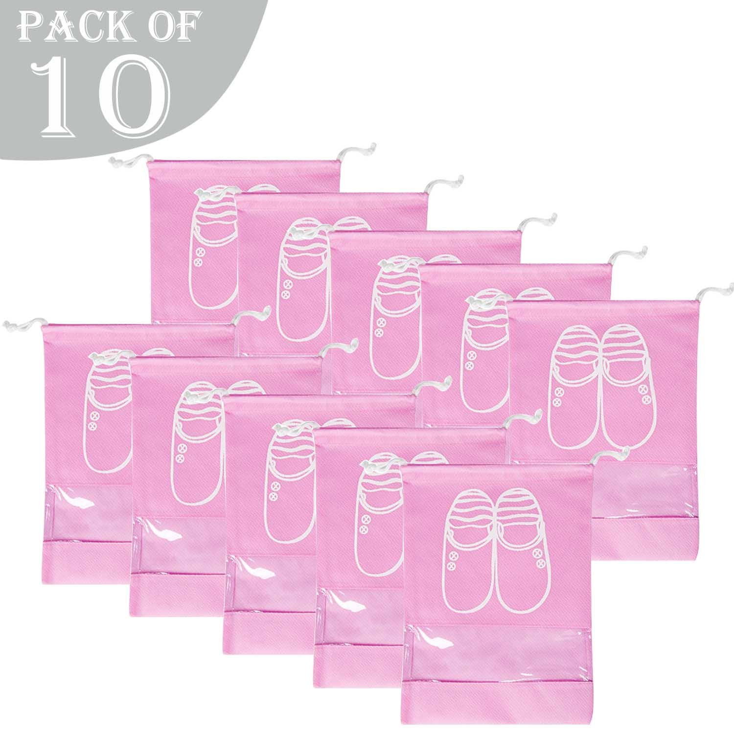 AVESON Pack of 10 Portable Travel Shoe Organiser Bag for Boots, High Heel - Drawstring, Transparent Window, Space Saving Storage Bags, Large Size, Pink