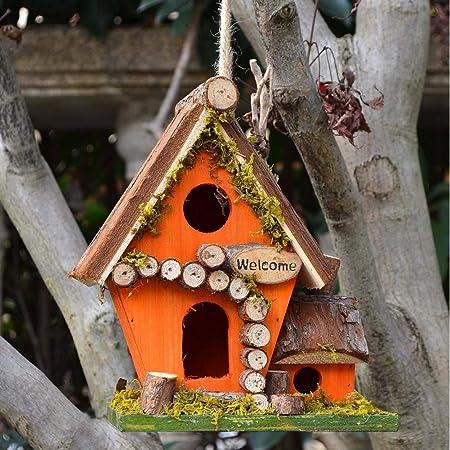 zenggp Casas Rurales Retro Casa De Pájaros De Madera Jardín Casa para Pájaros Colgando Decoración para Exteriores,G: Amazon.es: Hogar