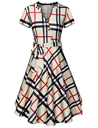 bd15befe93 Diphi LiLi Women s V Neck Dresses Short Sleeve Button Down Shirt Vintage Plaid  Dress (Beige