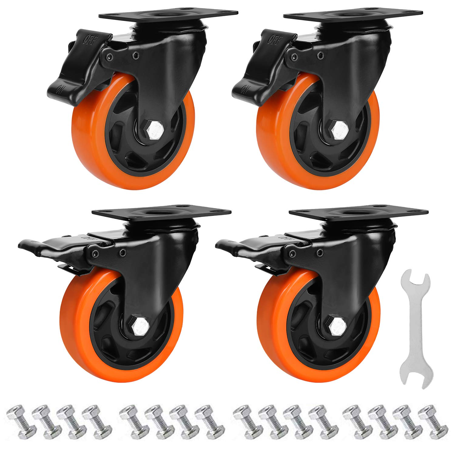 GloEra 4 inch Swivel Caster Wheels with Screws Heavy Duty 1200 LBS Capacity with Safety Dual Caster, 4 Pack All with Brake No Noise Lockable Wheels (Free Screws and Spanner)